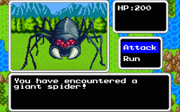 Fighting a giant spider.