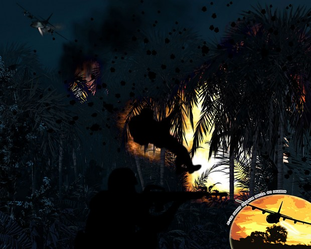 Game art, AC-130 attacks enemy in the jungle