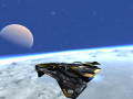 An Earthlike moon with a Gas Giant in background