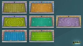 Stadiums with different grass patterns