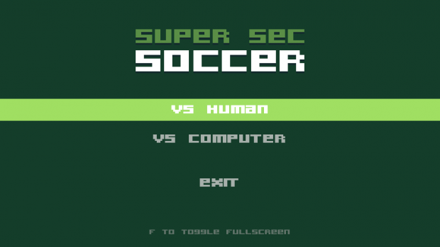 Super Sec Soccer start screen