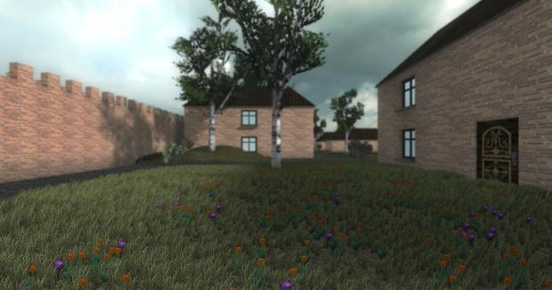 Flowers on lawn