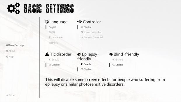 Working sample of new initial-setting screen.