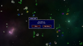 Asteroid Miner game over UI