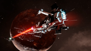 Interceptor firing a powerful beam weapon