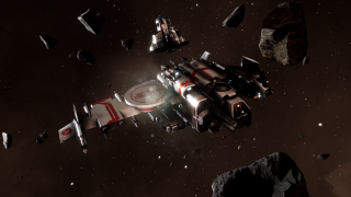 Beltor gunship in an asteroid field