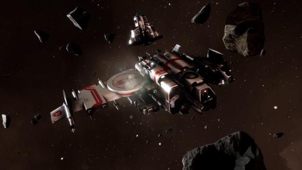 Beltor gunship in an asteroid field