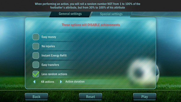 Special Modes in Fooball Tactics