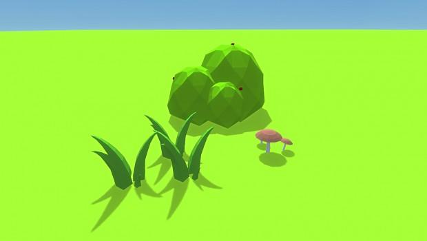 Mushroom, grass and bush