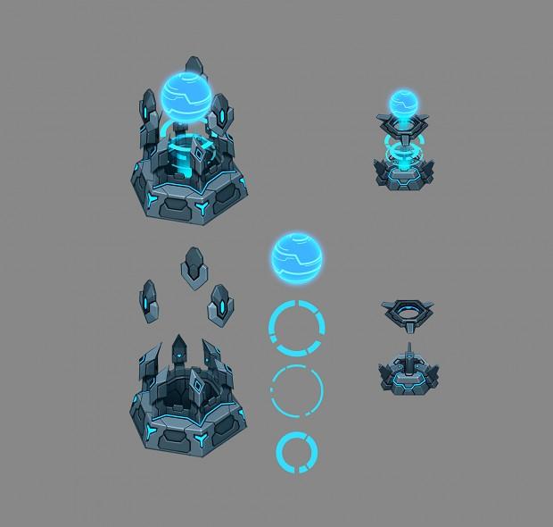 Hi-tech base and tower skin for Bang-bang party arena