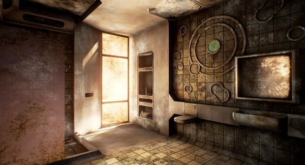 Abandoned bathroom in the city
