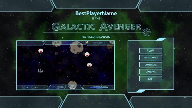 Galactic Avenger Main Menu