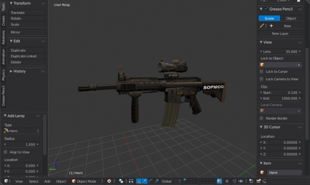 Low Poly Third Person Weapon Model