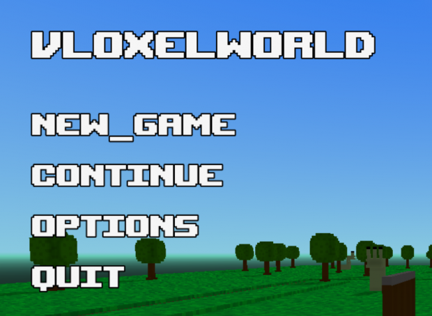 Vloxelworld pre-beta v0.7 main menu
