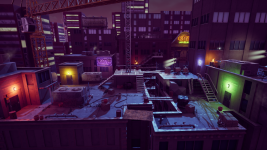 Rooftop level at night time