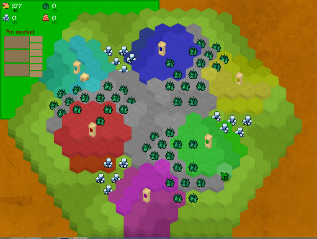 The beginning of a small map with 6 players.