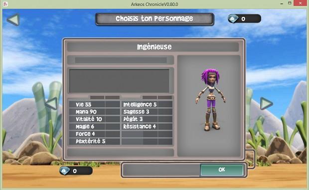 arkeos v0.80 - New Character