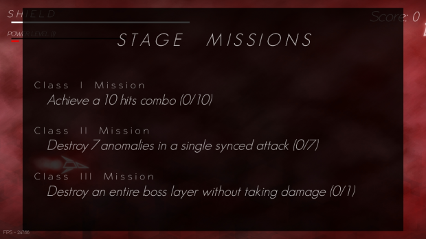Missions Screen