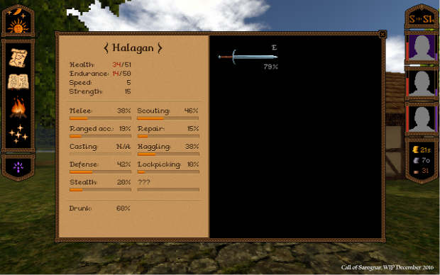 WIP Character Inventory/stats window