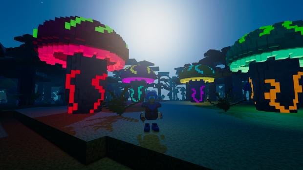 Big Glowing Mushrooms