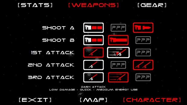 character sheet and upgrades