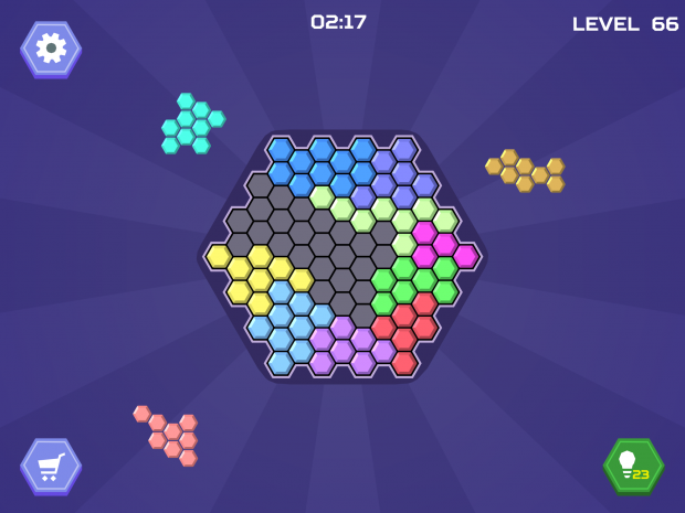 Playing Hex Blocks Puzzle in Landscape