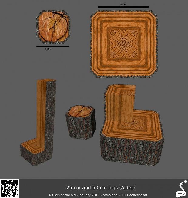 Wood trunks 25 and 50 cm alder