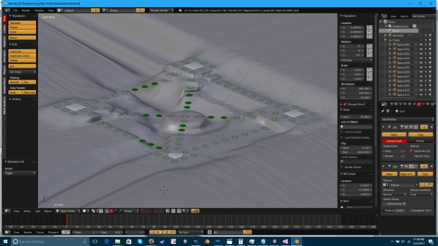 Terrain subdivided and ready to create heightmap