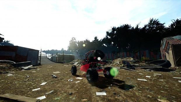 Driving through junk yard