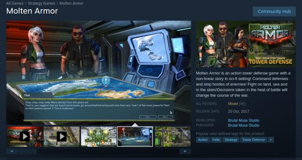Molten Armor Steam store page