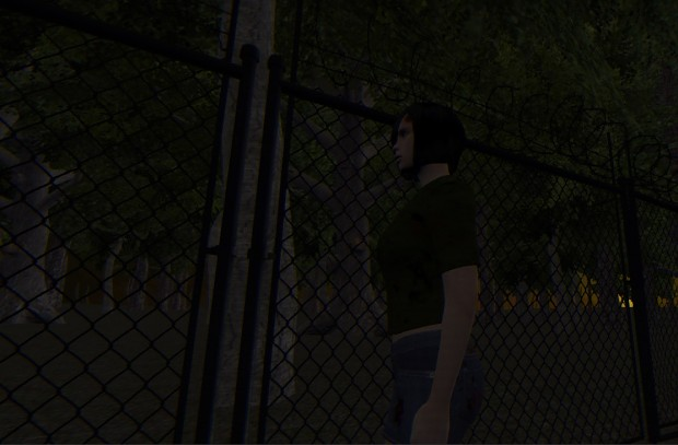 A barbed wire fence blocks Avery from her escape.