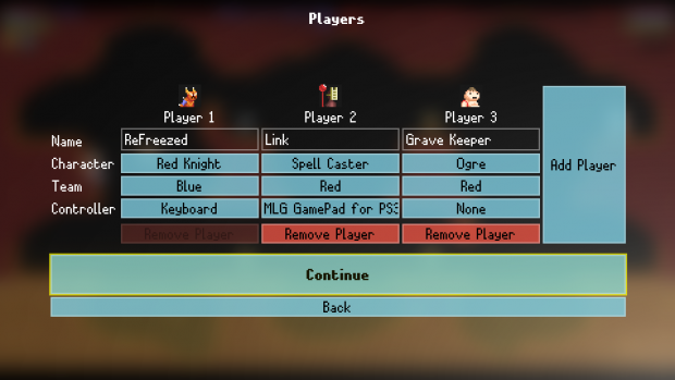 Player Setup Screen