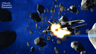 An enemy fighter mid-explosion