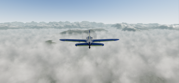 Prop plane above clouds