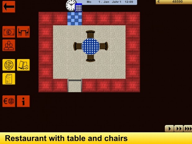 Restaurant with table and chairs