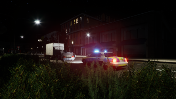 Midnight car accident Scene