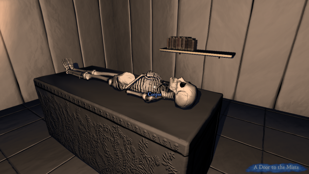A skeleton, lying quiescent on its slab
