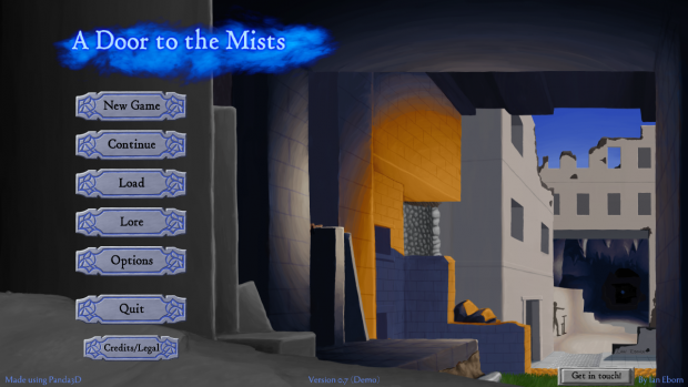 The main menu of A Door to the Mists
