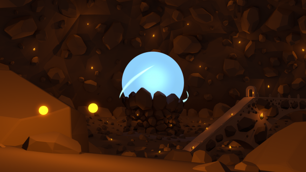 Friendly Crystal Cave with a blue sphere