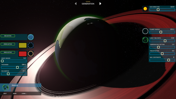 The revamped planet editor screen