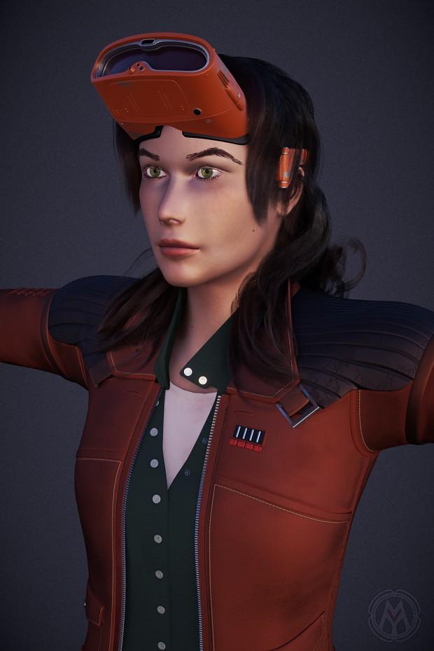 Girl with visor