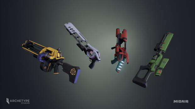 Midair weapon models.