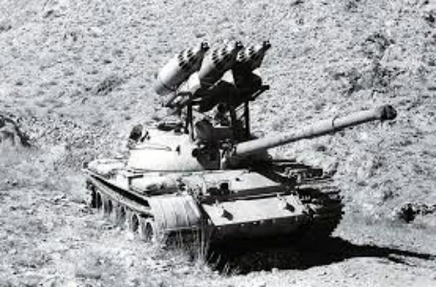 Afghan T-62 equipped with three 57mm UB-32 rocket pods