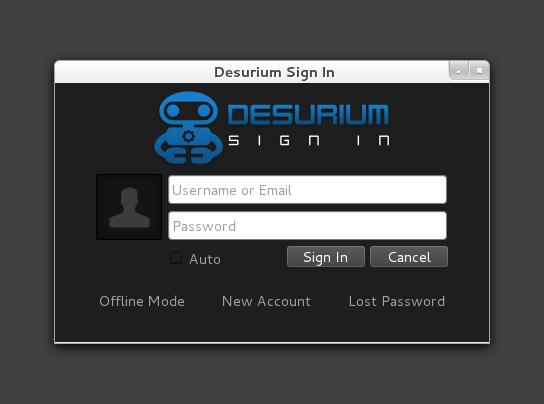 Desurium Login Screen