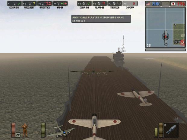 Bomber landing on hangar ship in bf 1942