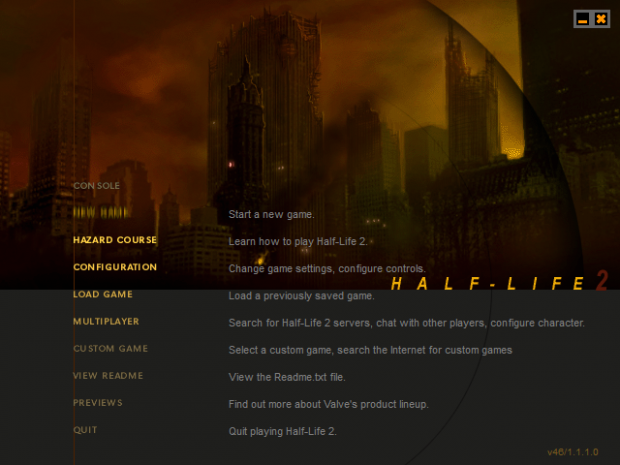 Half Life 2 Alpha Menu Recreation