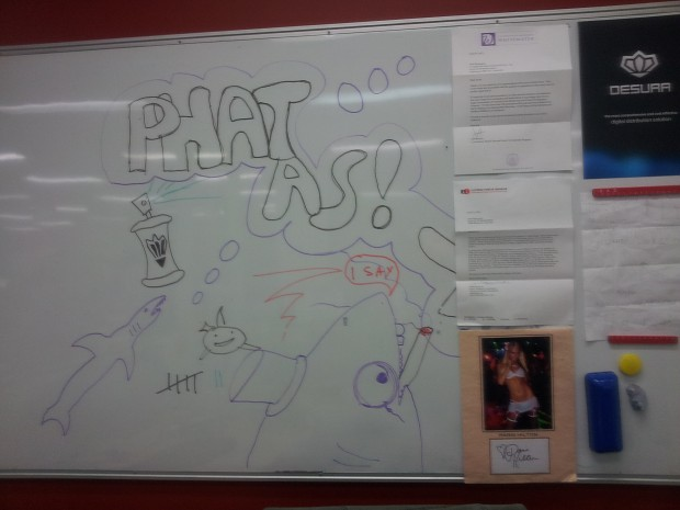 ModDB office whiteboard.