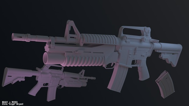 M4A1 + M203 High Poly Render