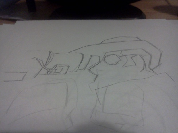 Sniper (rough first draft of his head and rifle)