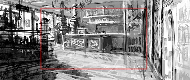 Concept art of Bob's gas station interior